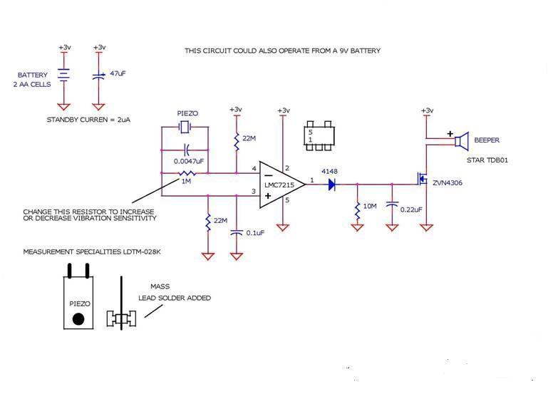 Motion Alarm using Piezo Device