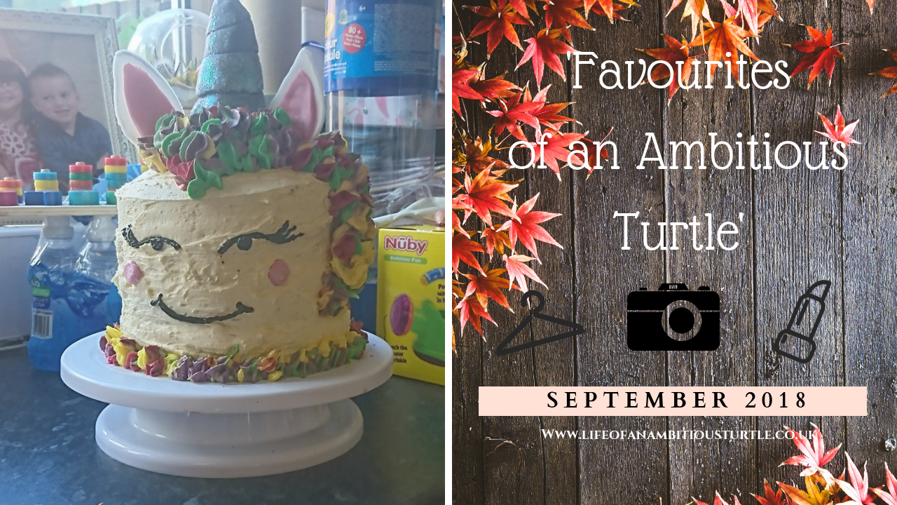 Thumbnail Image split with title text on one size ontop an autumn leaf scattered wood table, opposite is a photo of a homemade unicorn cake with girly eyelashes and all coloured pipping