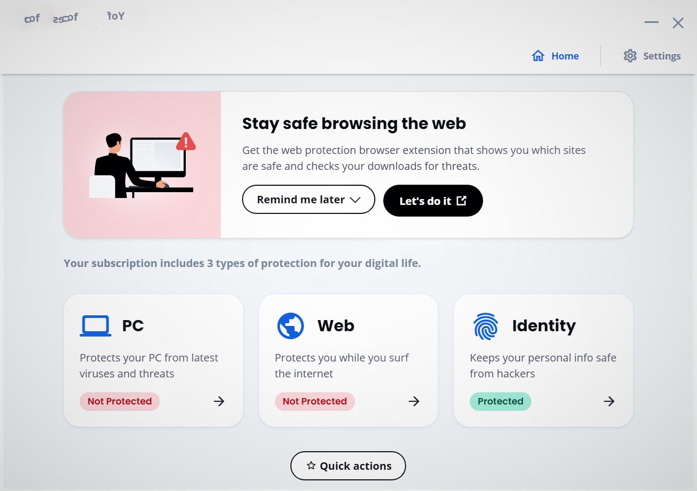 Main page of a third-party antivirus program