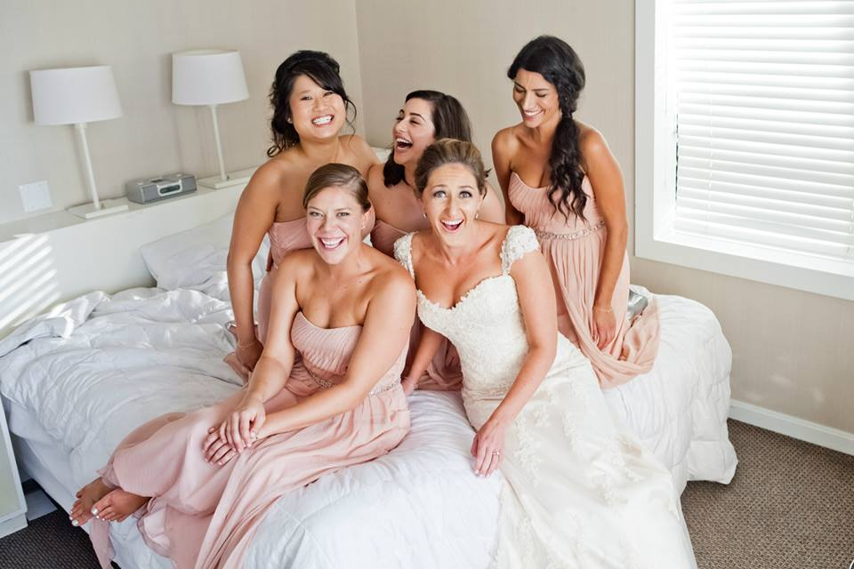 Bride and Bridesmaids Pink and White Dress