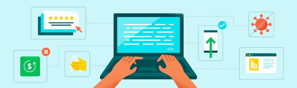 노트북을 타이핑하는 사람의 손과 그 주변에 기술과 관련된 상징을 표현한 그림.