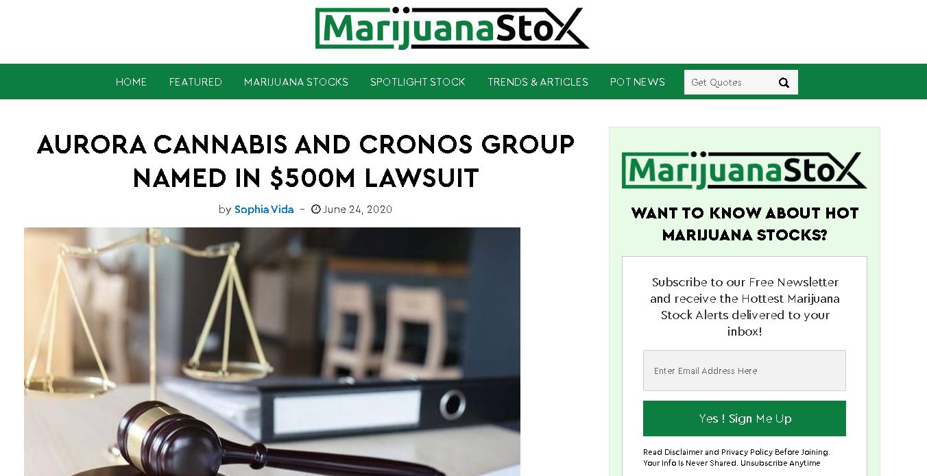 Cronos Group stock news