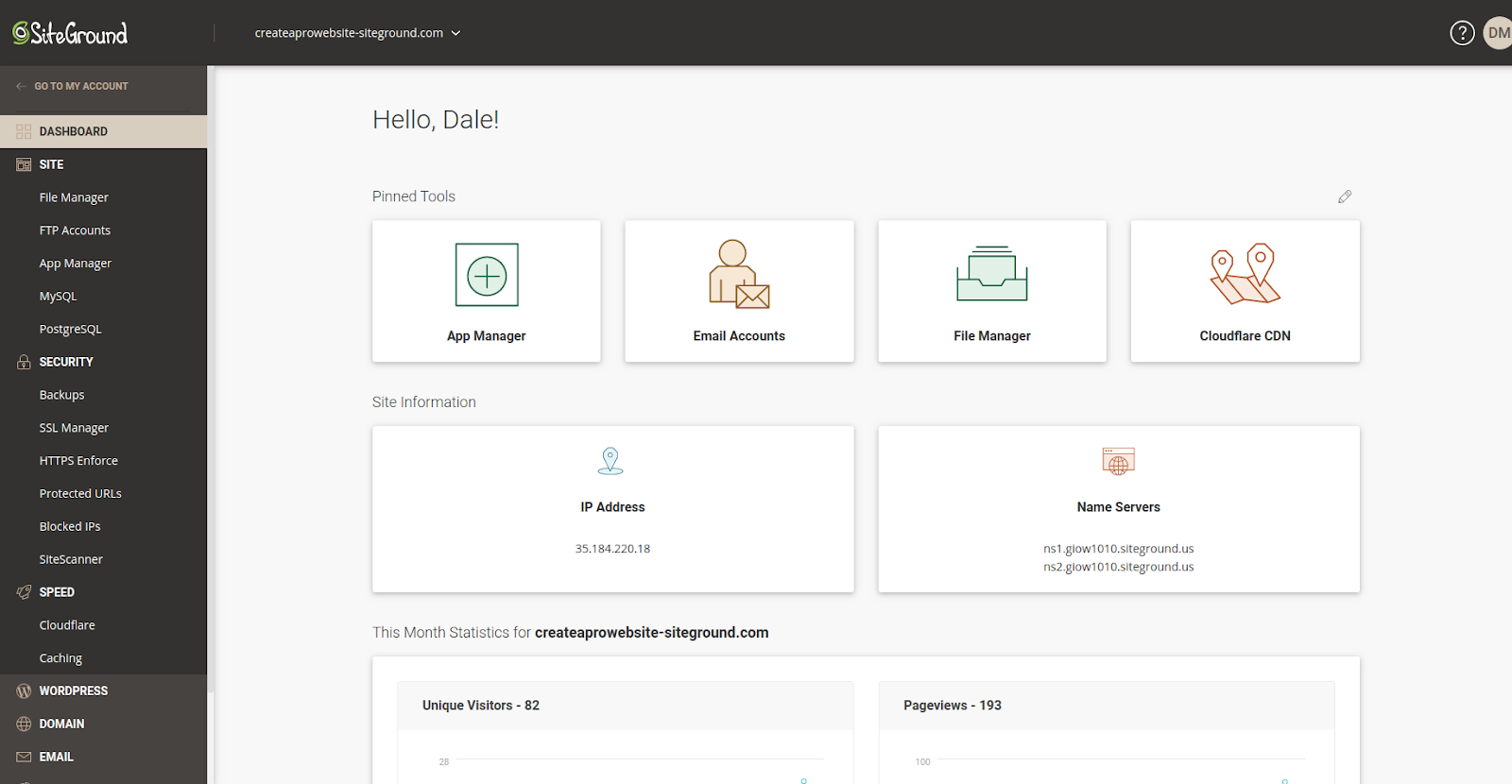 siteground hosting management interface