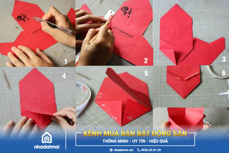 Bước 1 đến bước 6 cách làm bao lì xì hình trái tim