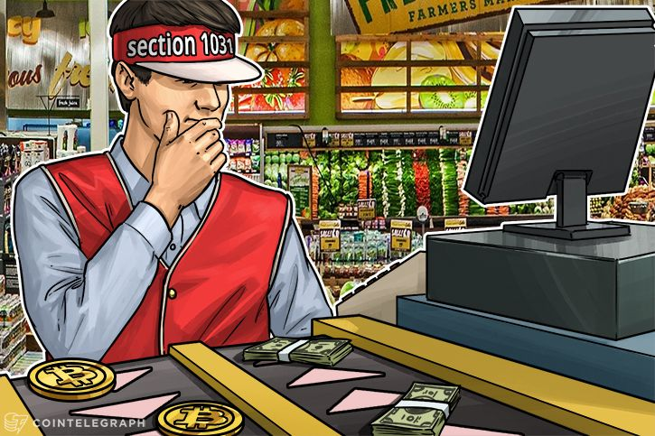 A man in the store with bitcoins