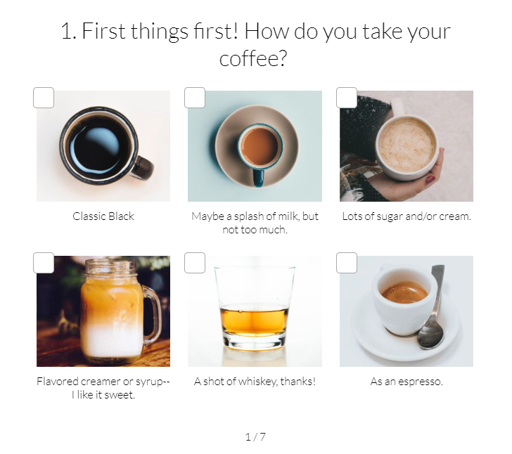 how do you take your coffee? quiz question