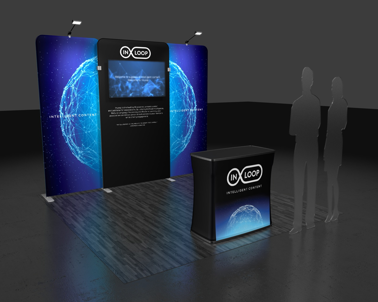 This Waveline Media 10.09 tension fabric display designed for InLoop offers a a minimalist design maintaining a limited color palette and visually interesting design elements.