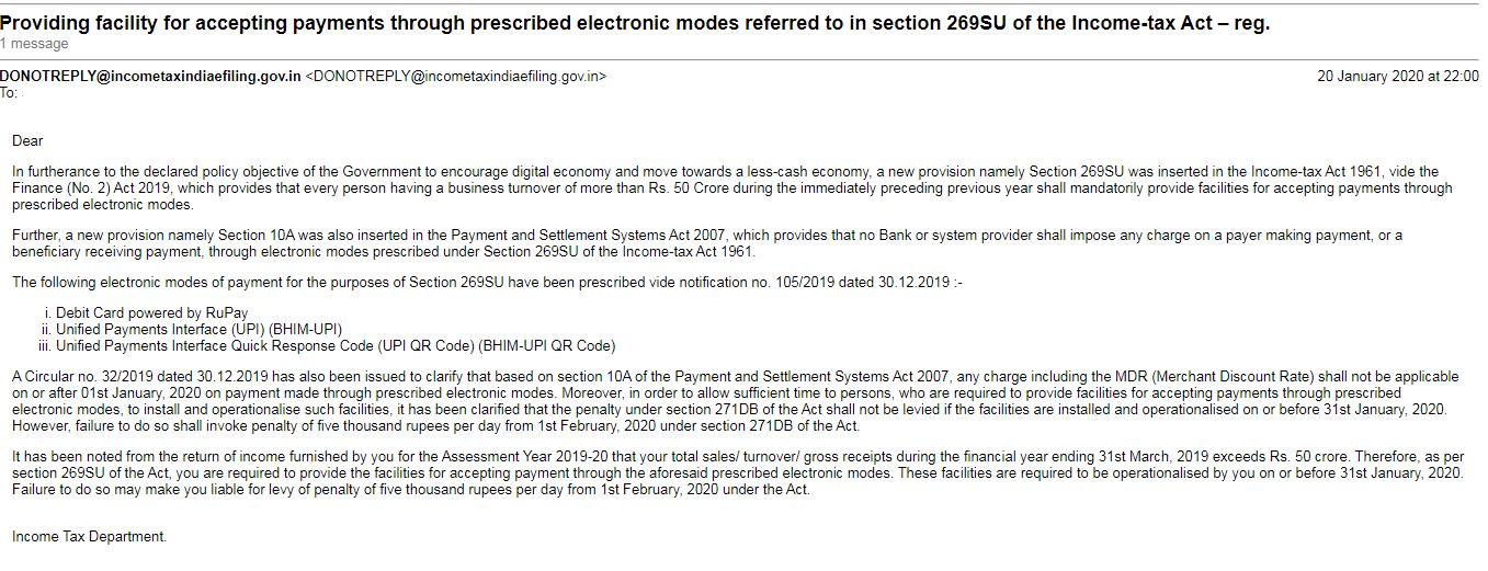 Applicability of 269SU