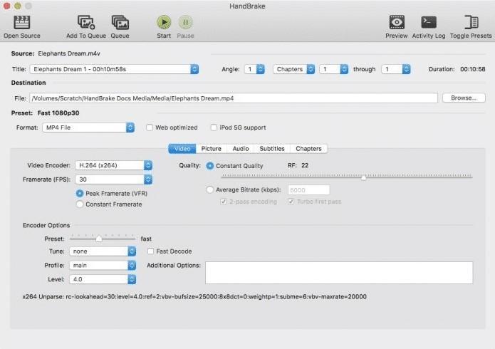 the interface of HandBrake