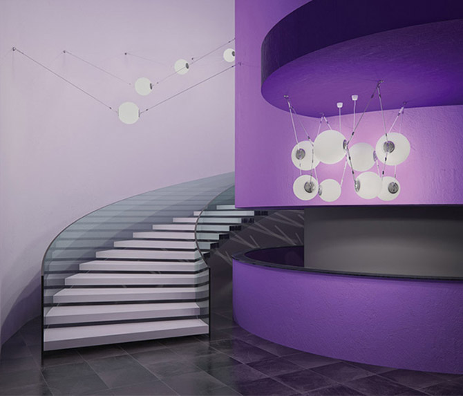 Hyper modern purple foyer with circular staircase
