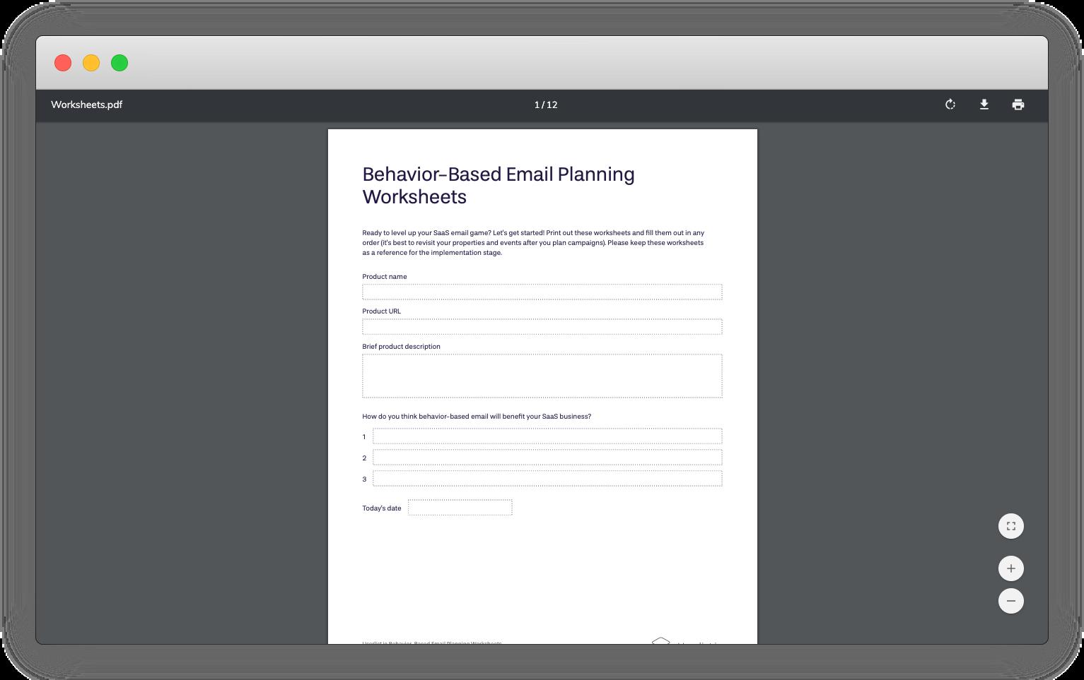 Userlist's behavior-based email planning worksheet