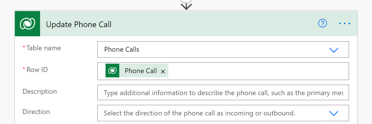 Update phone call form in in Power Automate