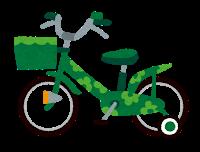 子供用の自転車のイラスト「緑」