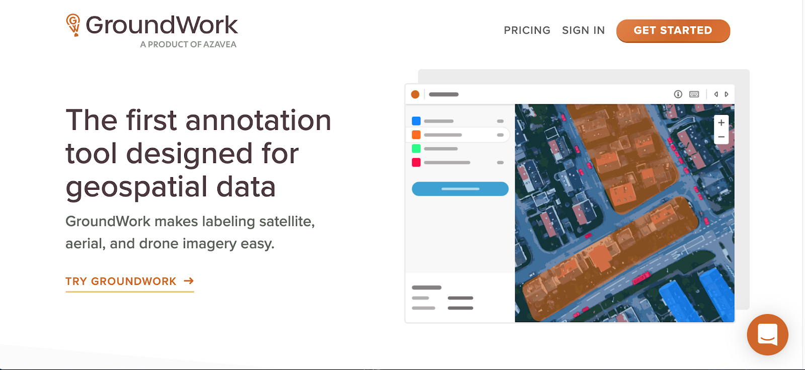"A screenshot of the GroundWork homepage.  Main text: ""The first annotation tool designed for geospatial data GroundWork makes labeling satellite, aerial, and drone imagery easy. TRY GROUNDWORK """
