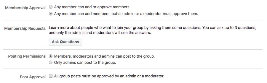 giới hạn quyền của thành viên group facebook