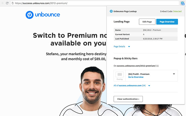 unbounce chrome extension