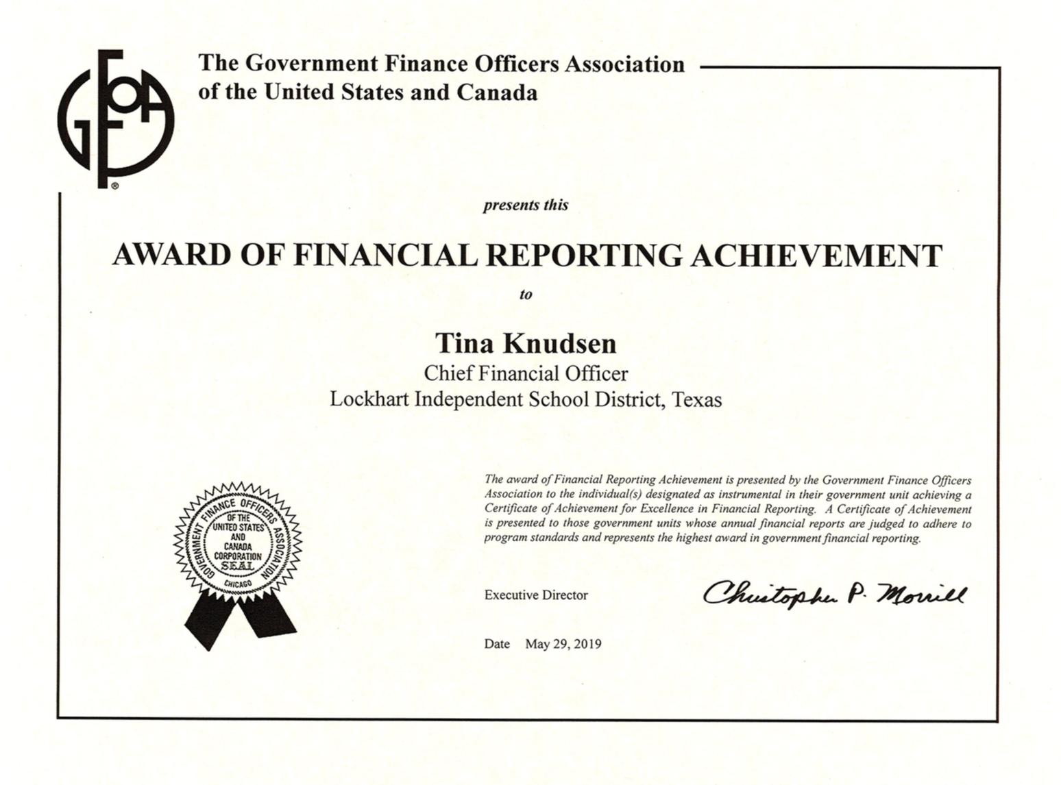 GFOA Certificate