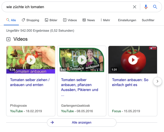 Videosnippet als Featured Snippet