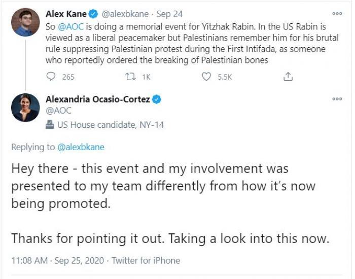 AOC Pulls Out of Event for Murdered Israeli Prime Minister Rabin, the First  to Recognize Palestinian Nationalism | CNSNews