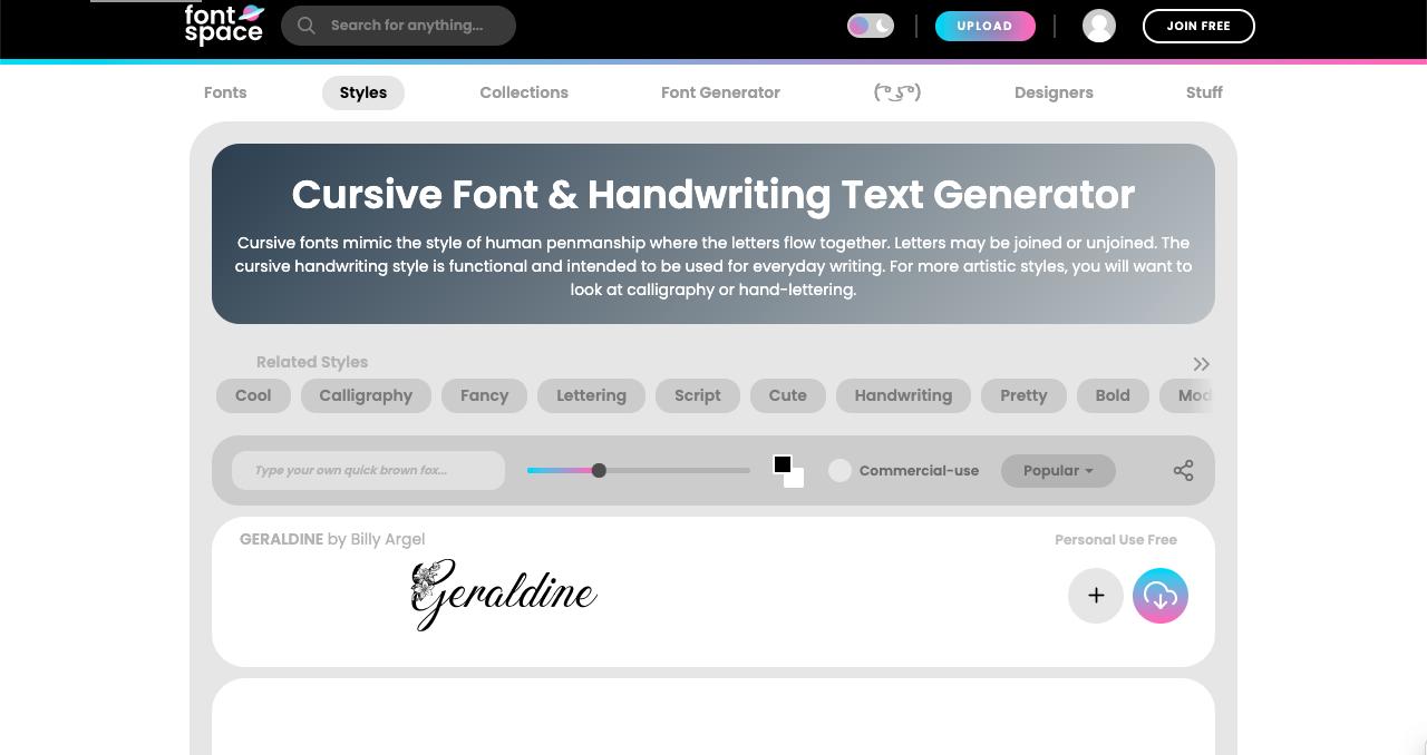 font space website