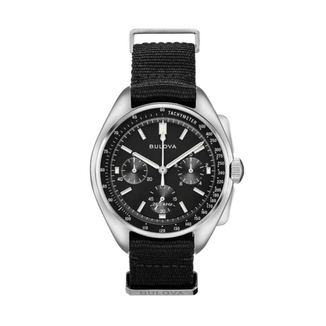 Bulova Lunar Watch with steel case, black chronograph dial with 3 sub dials and a fabric strap.