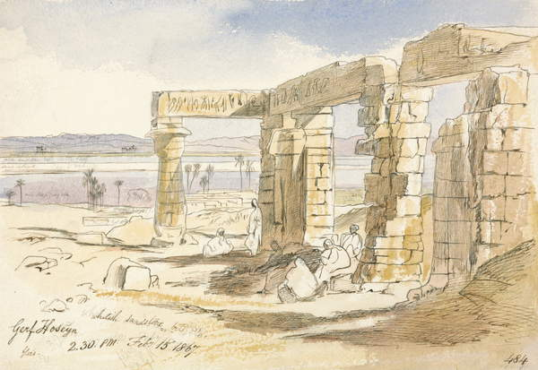 Image of Garf Hoseyn, 2.30pm, 15th February 1867 (ink and w/c on paper), Lear, Edward (1812-88) / English, Yale Center for British Art, New Haven, USA, 24.1x34.9 cms, © Gift of Donald Gallup / Bridgeman Images