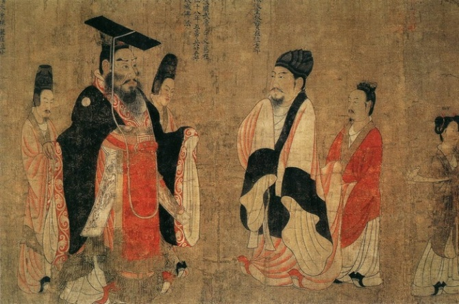 An emperor of the Tang dynasty, with his courtiers