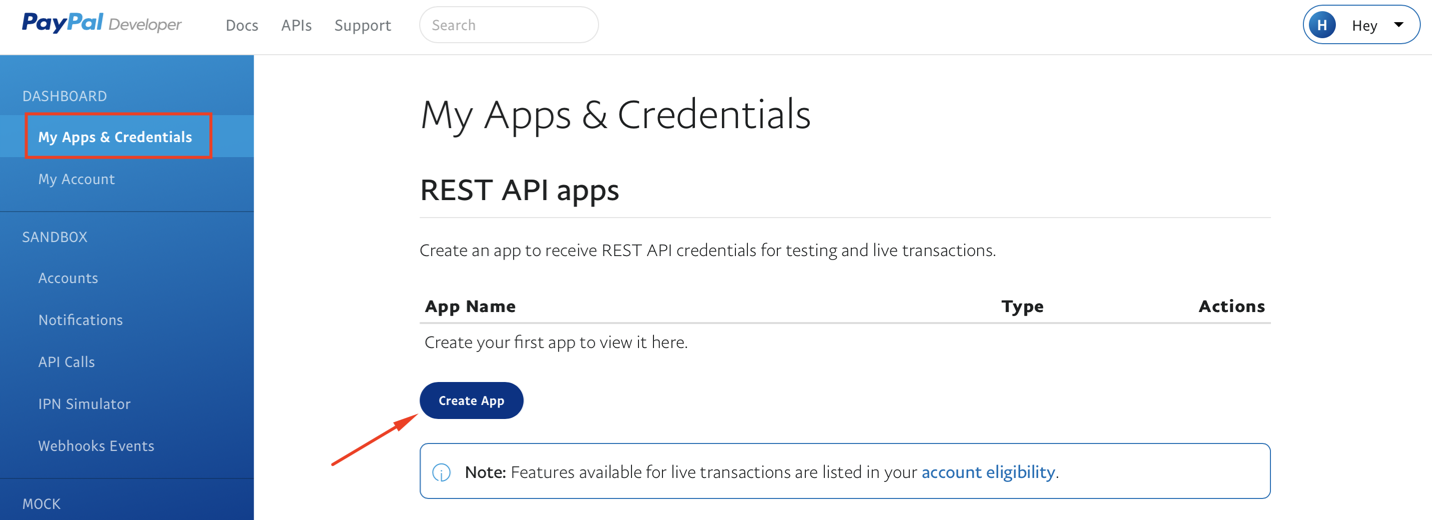 Creating an app in PayPal