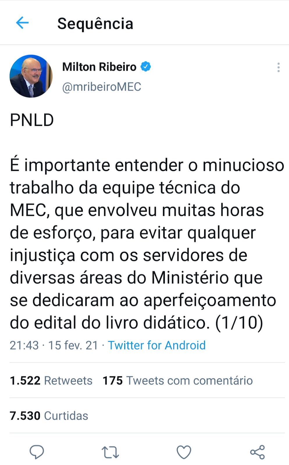 Reprodução do Twitter do Ministro Milton Ribeiro