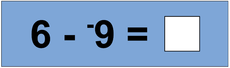 """*Hint: A good strategy to use is to """"add the opposite"""".  Think  [6 + 9] ="""