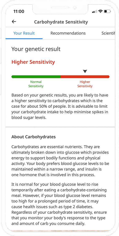 Recurso de relatório de sensibilidade a carboidratos