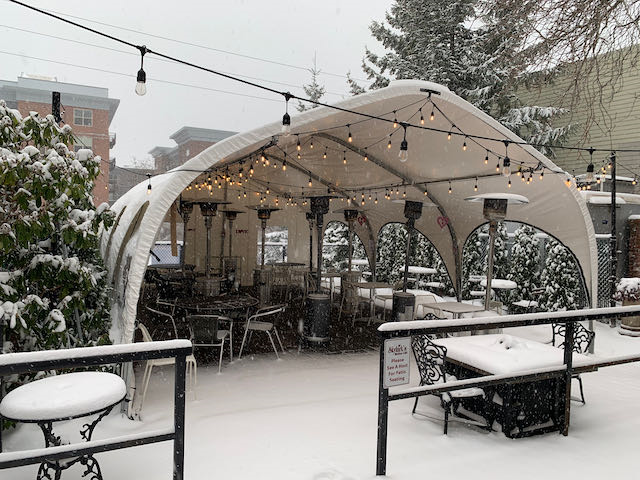 WeatherPort outdoor dining structure at Skylark's Hidden Cafe