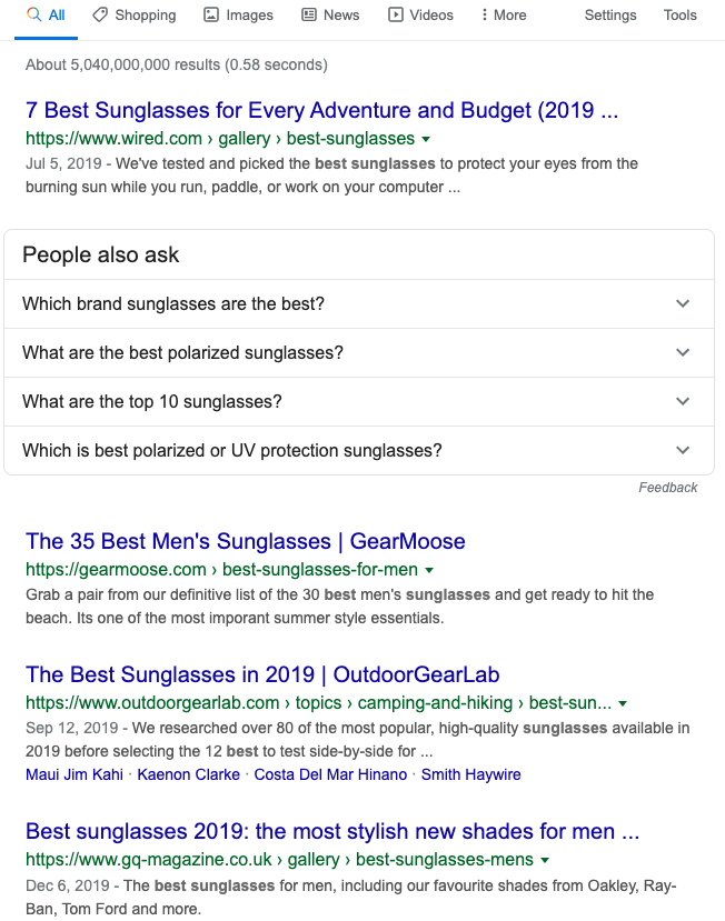 """best sunglasses"" Google Search results from 12/16/2019"