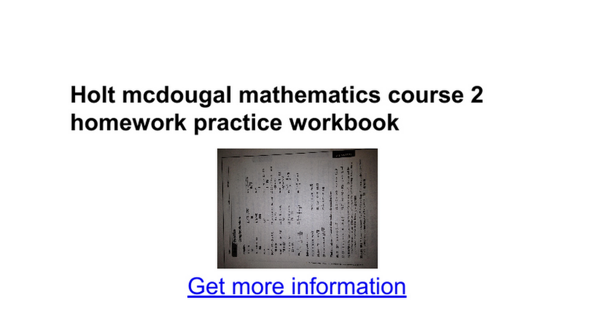 Holt mcdougal mathematics course 2 homework practice workbook – Holt Middle School Math Worksheets