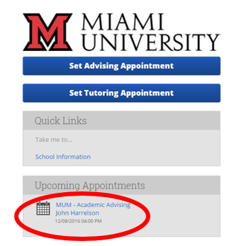 Within SSC-Campus advising appointment scheduling system, students can select the upcoming appointment location and their name to cancel an advising appointment.