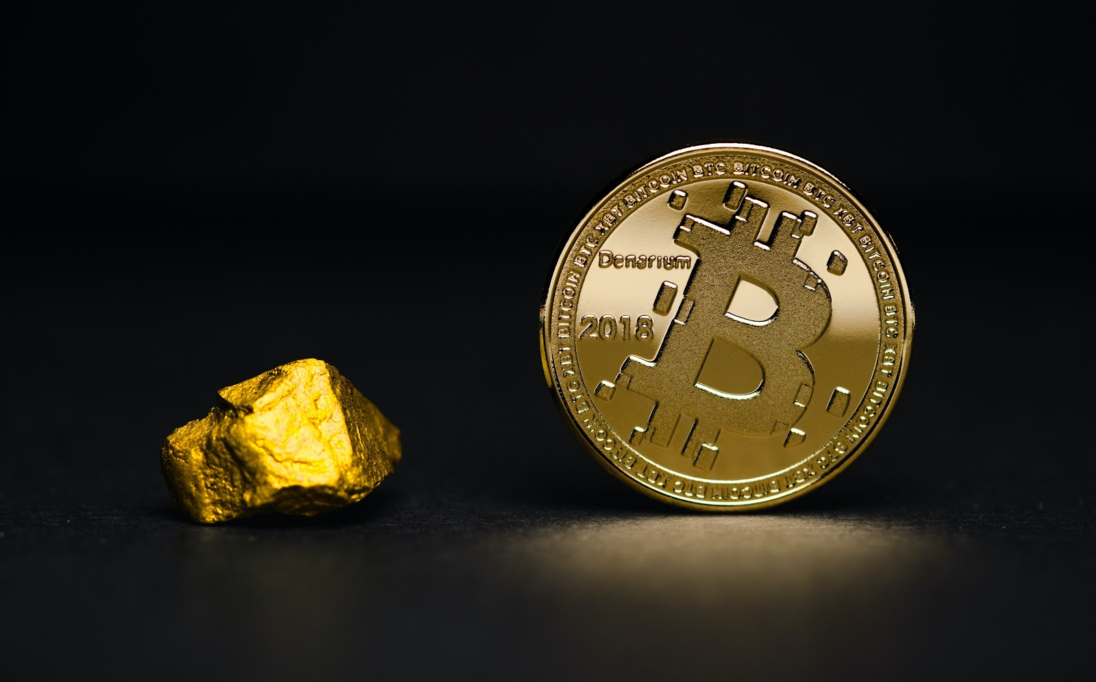 Gold and a Bitcoin.