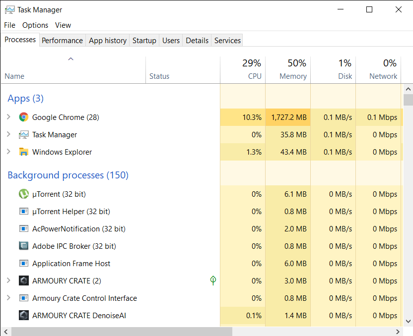 Windows Task Manager main page