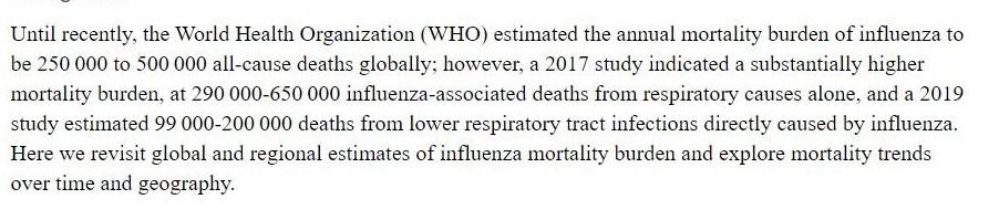 Global mortality associated with seasonal influenza epidemics, NCBI