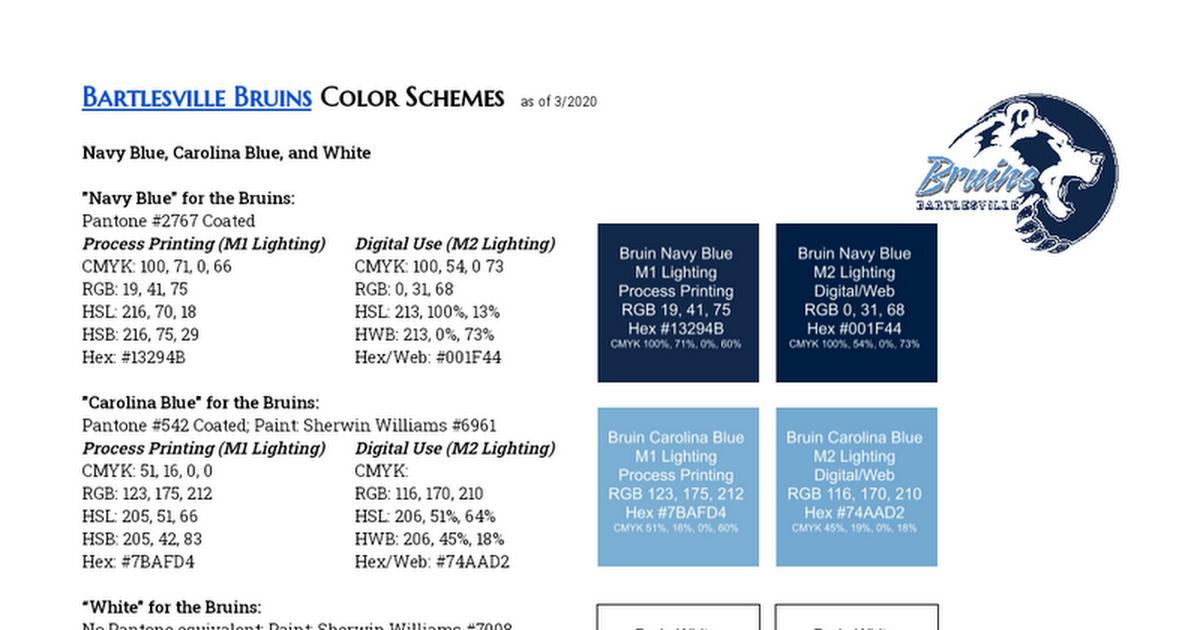 Bartlesville Bruins Color Schemes Google Docs