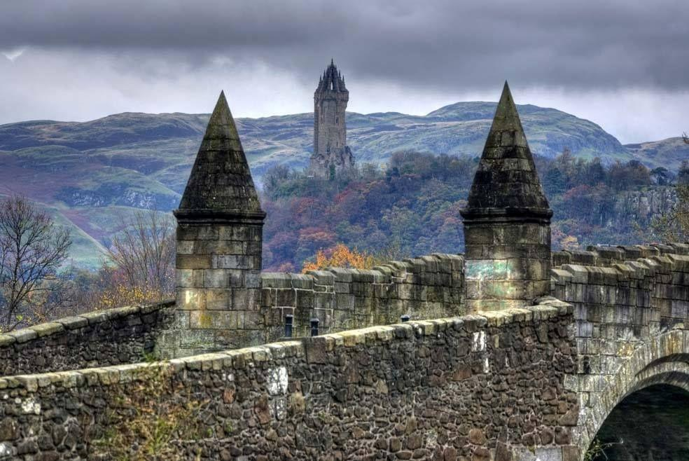 Stirling Bridge and William Wallace Monument, Stirling, Scotland ...