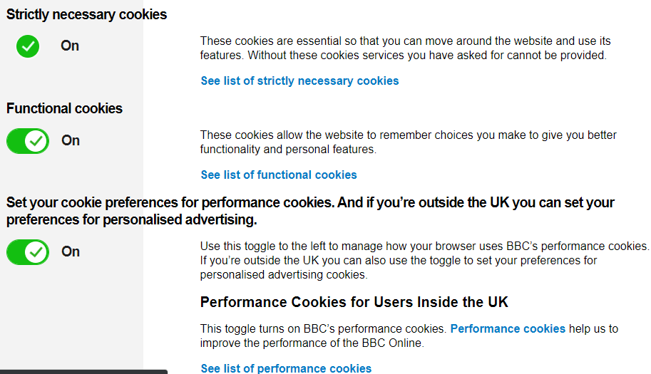 Cookie consent banner settings