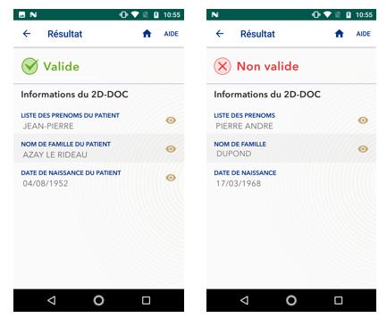 capture d'écran de l'application TousAntiCovid Verif lors de la validation ou non d'une preuve sanitaire