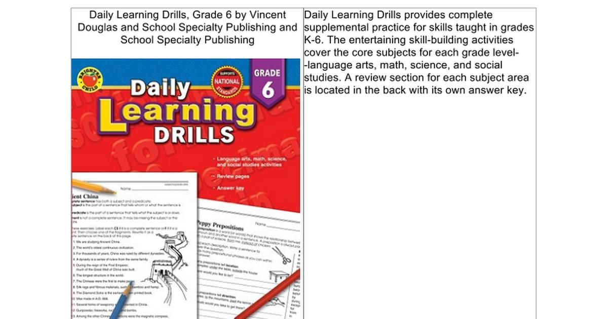 Daily Learning Drills, Grade 6 - Google Docs