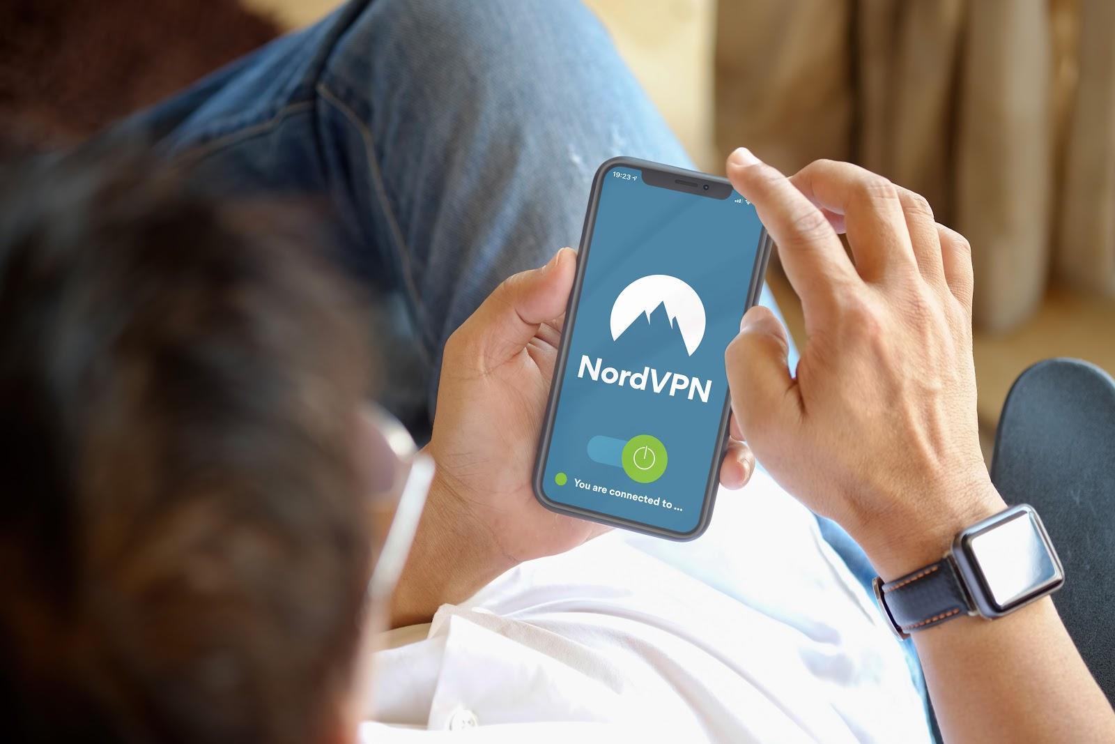 NordVPN on a smartphone