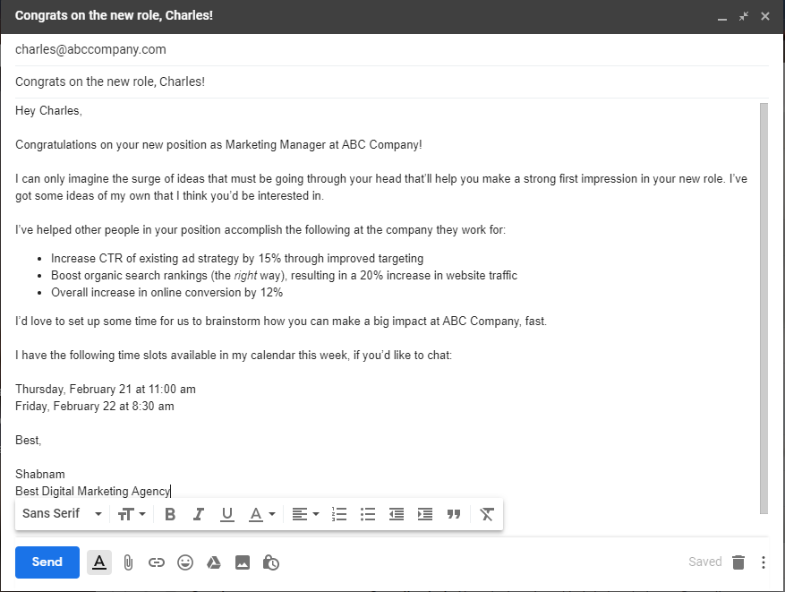 "example of ""congrats on the new role, let me help you crush it"" sales prospecting email template."