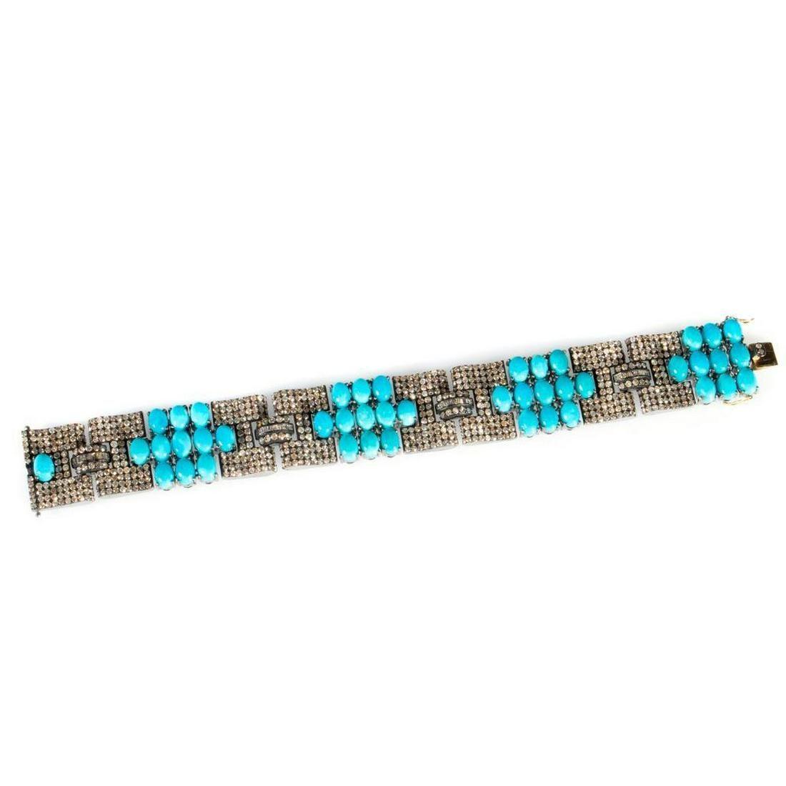 Turquoise, diamond, blackened silver, 14k gold bracelet