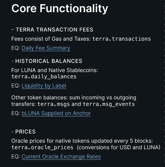 Terra core functionality