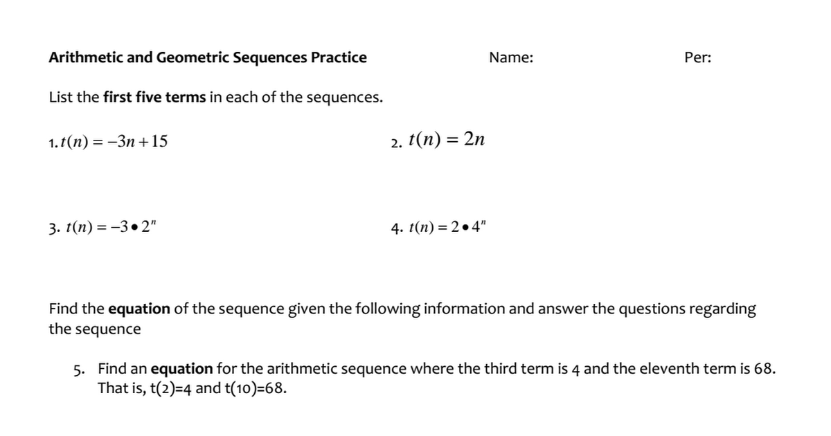Arithmetic and Geometric Sequences Worksheetpdf Google Drive – Arithmetic and Geometric Sequence Worksheet