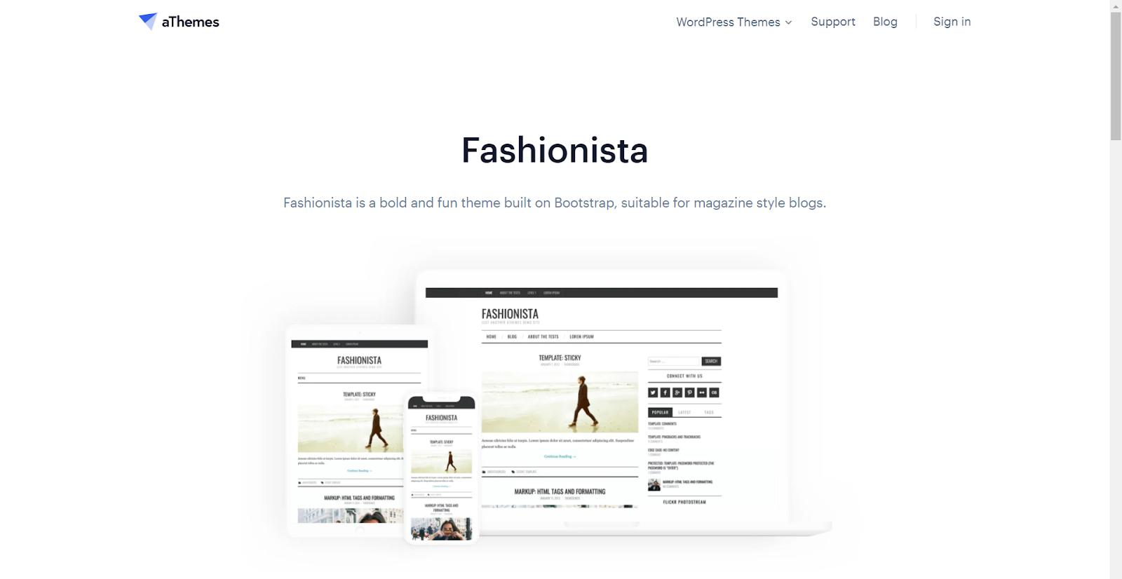 Fashionista Masonry WordPress Themes