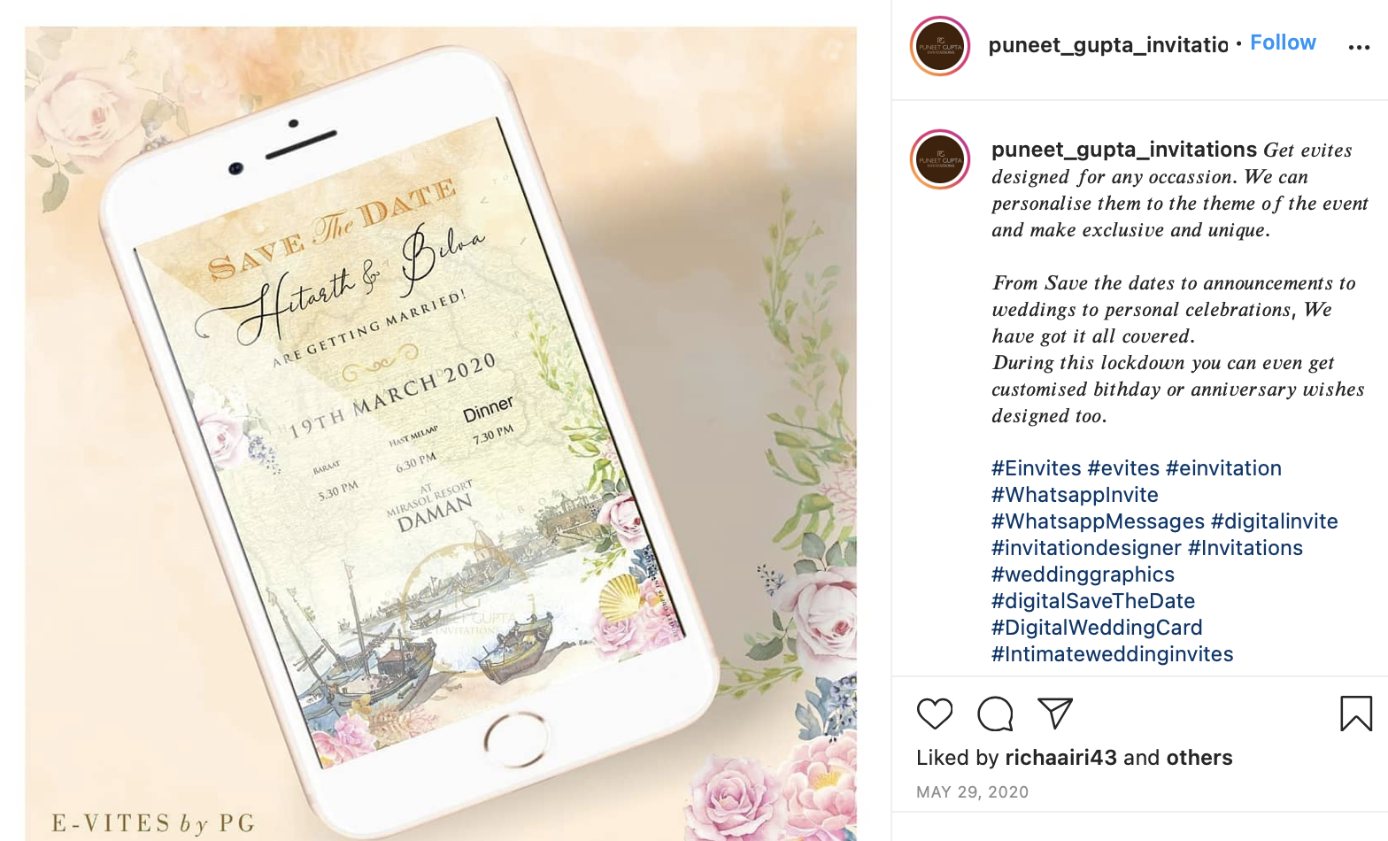 Photo of digital save-the-date card on Instagram post